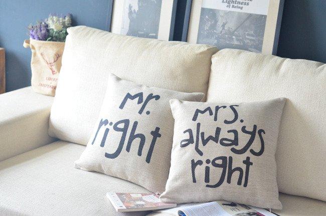 Подушки Mr Right & Mrs Always Right