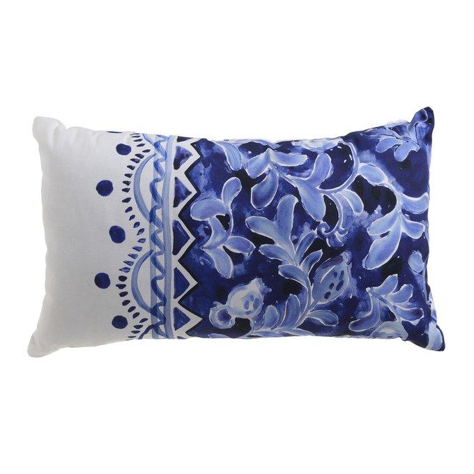 Декоративная подушка бело-синего цвета