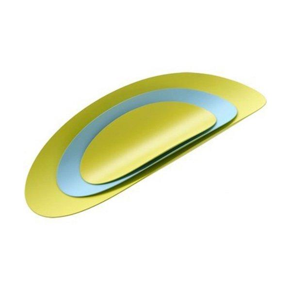 Набор из трех стальных блюд ellipse (бирюзовый & желтый)