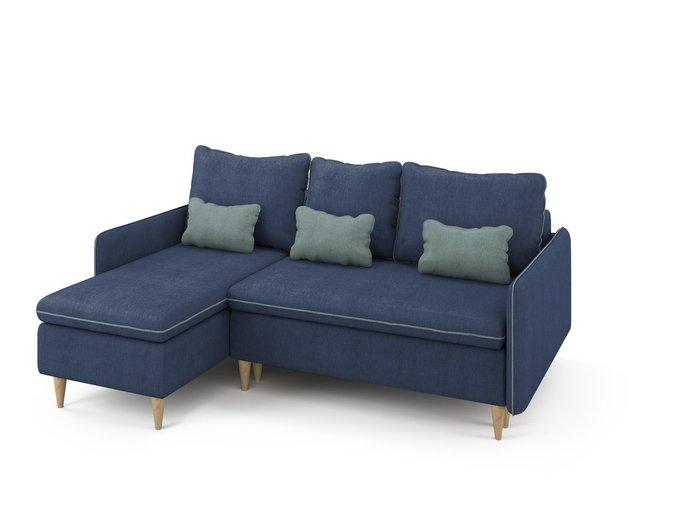 Угловой раскладной диван Ron левый синего цвета