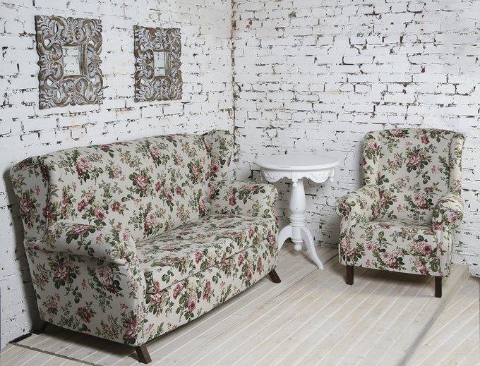 Кресло Роза на льне бежевого цвета