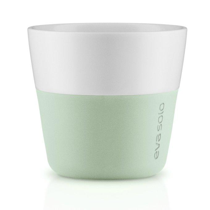 Набор из двух чашек для лунго бело-зеленого цвета