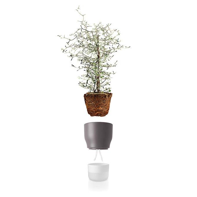 Горшок для растений с функцией самополива 13 см серый