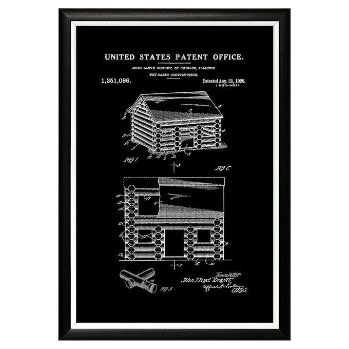 Арт-постер Патент Джона Райта на игрушечный сборный домик Lincoln Logs