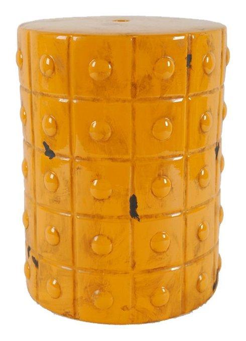 Керамический столик-табурет Mustard Stool Orange в виде барабана