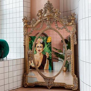 Настенное зеркало Миранда цвета античного матового золота