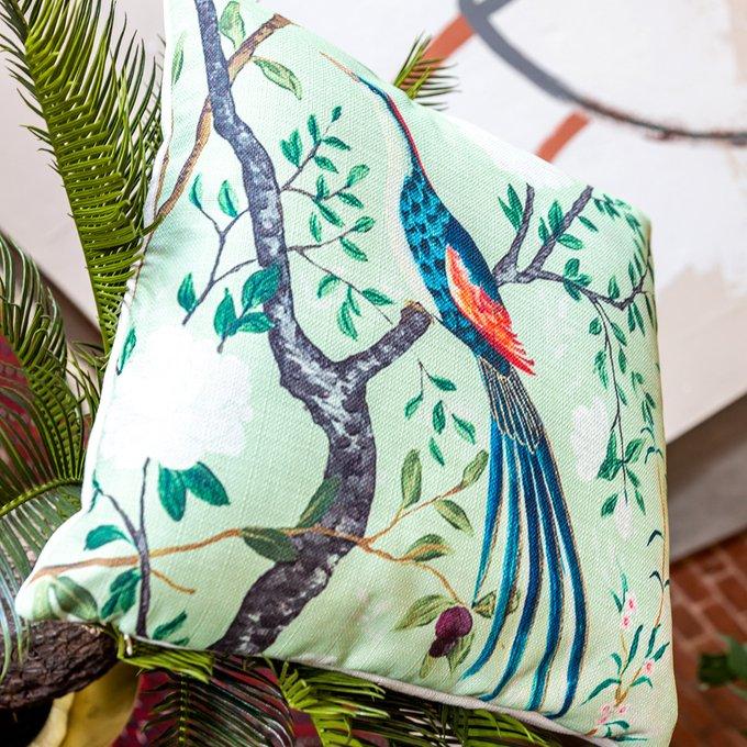 Интерьерная подушка Шинуазри версия 5 зеленого цвета