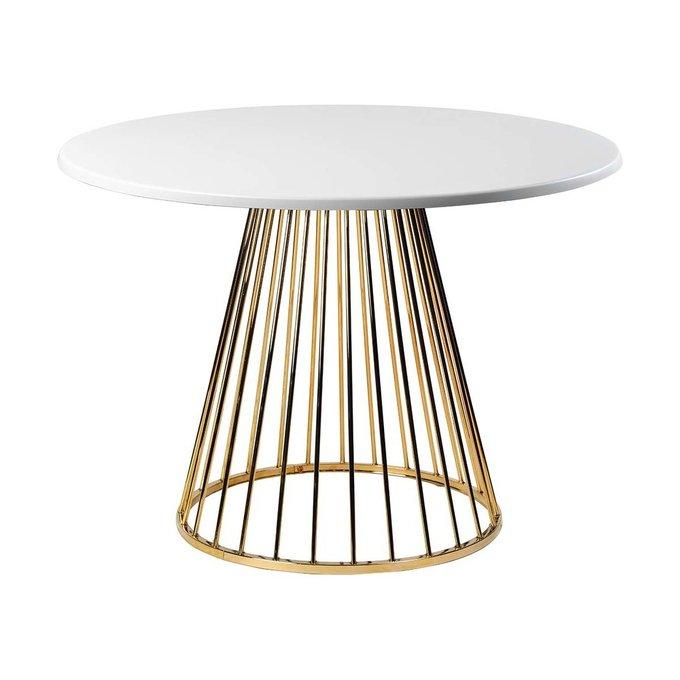 Обеденный стол Twister Gold с белой столешницей