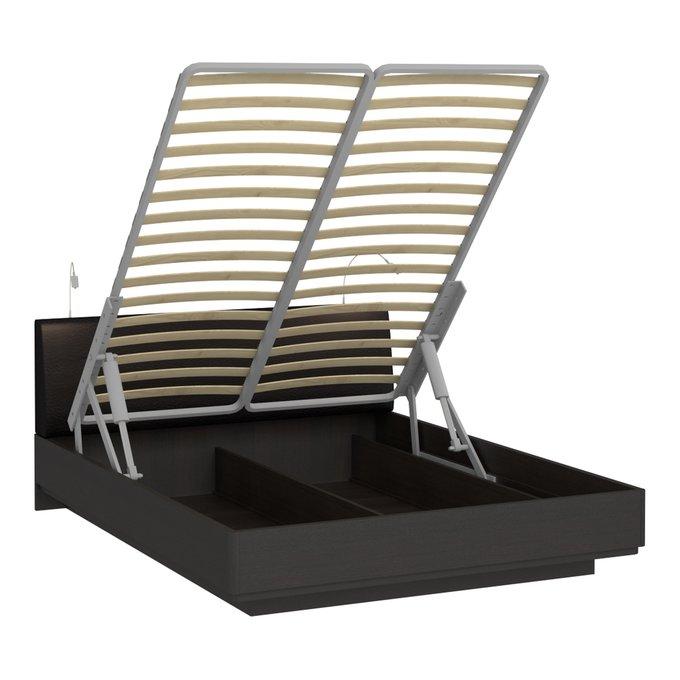 Кровать Элеонора 140х200 черного цвета с двумя светильниками