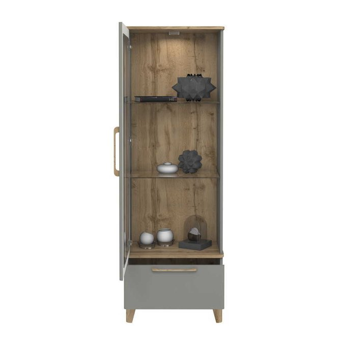 Шкаф-витрина Кассия цвета Дуб вотан серый