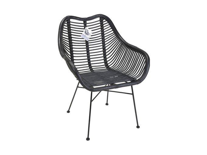 Кресло Kubu из натурального ротанга с металлическими ножками