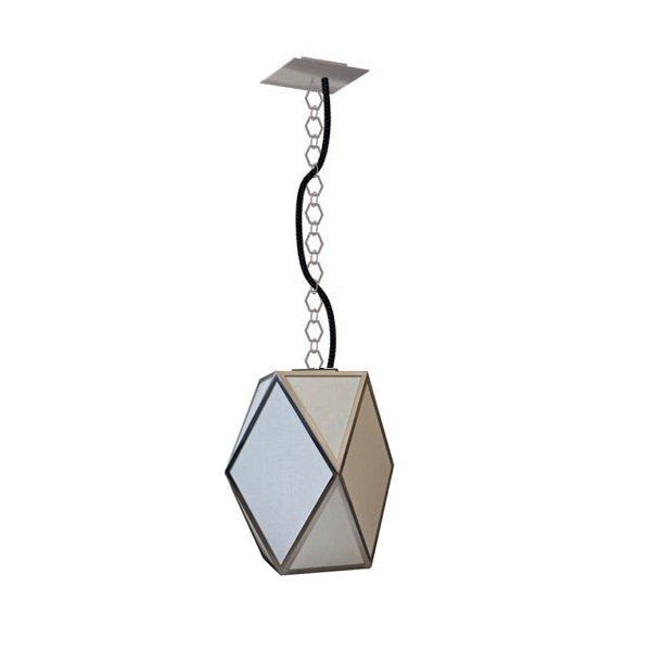 """Подвесной светильник Contardi """"MUSE DELUXE SO MEDIUM"""" nickel с плафоном в металлической серой рамке со створками из белой ткани"""