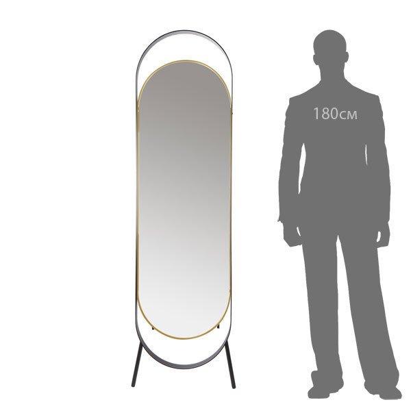Зеркало напольное Вилла в черно-золотой раме