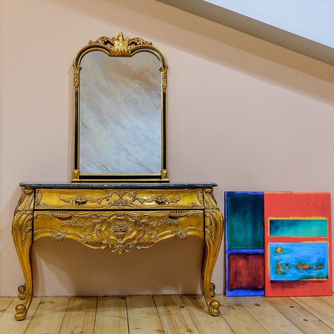 Настенное зеркало Флавия в черно-золотой раме