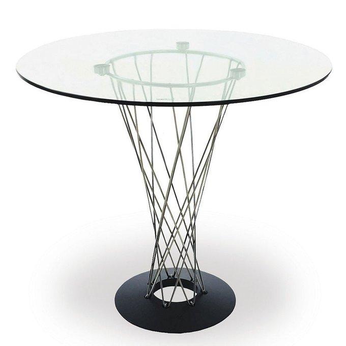Стол обеденный с прозрачной столешницей