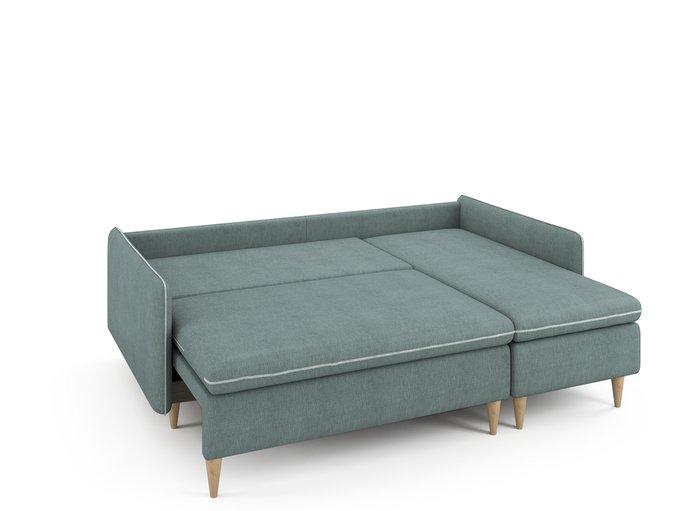 Угловой раскладной диван Ron правый мятного цвета