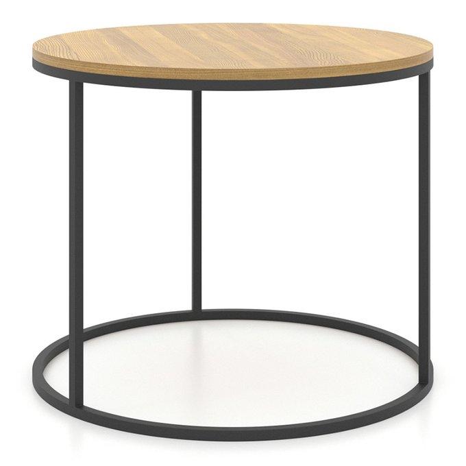 Круглый журнальный столик Loft с черным подстольем