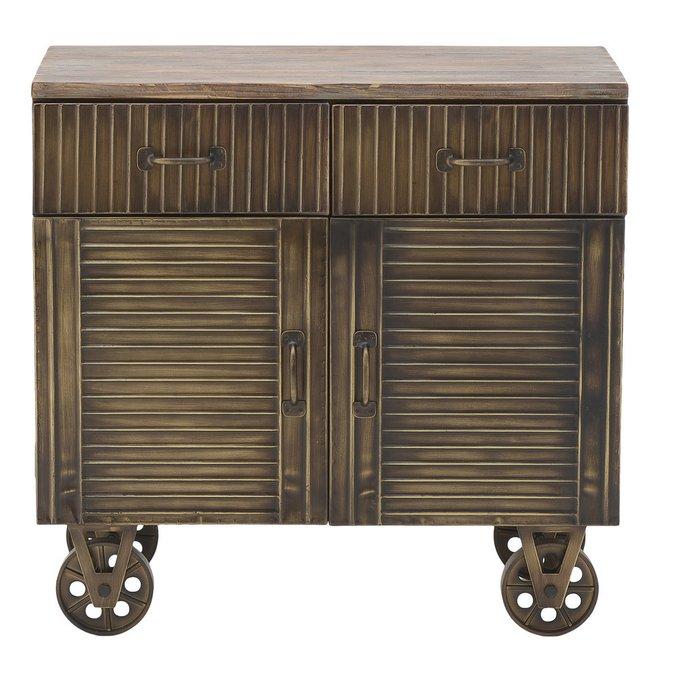 Комод из дерева и металла на колесах