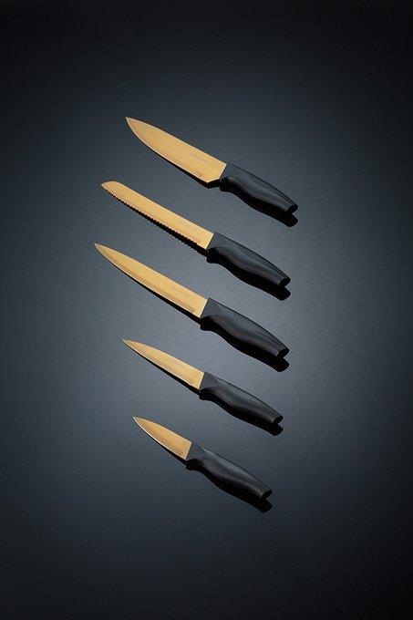 Набор из пяти ножей в подставке Opulence золотого цвета
