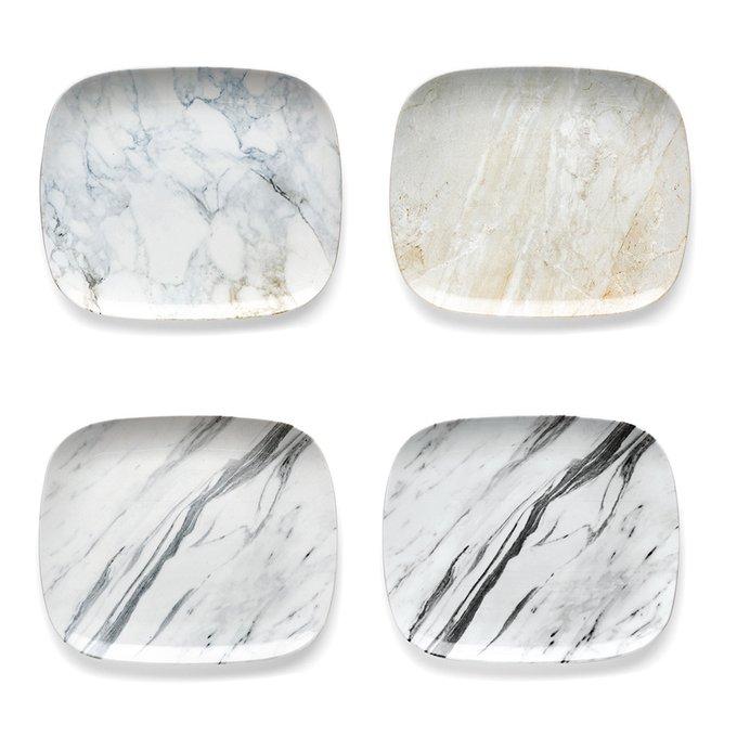 Набор из четырех тарелок fusion carrara из фарфора