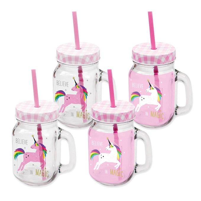 Набор банок с трубочками Paperproducts Design pink unicorn 400 мл