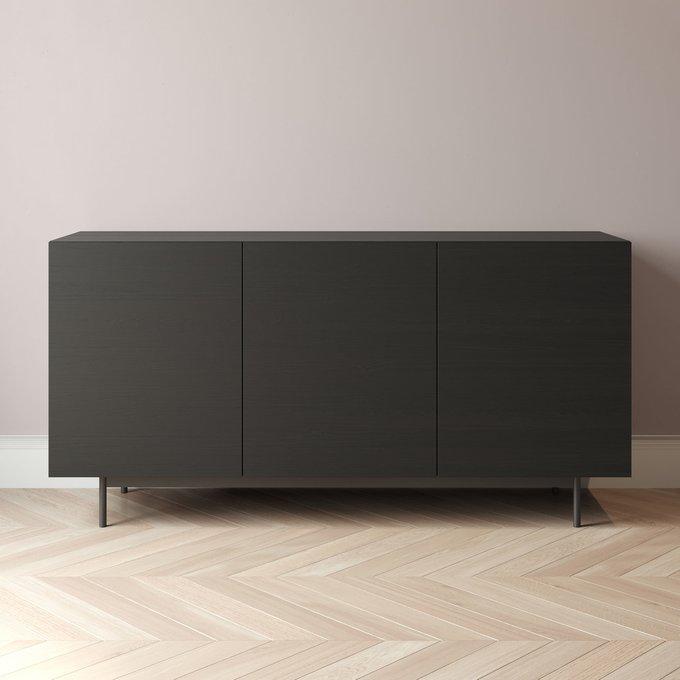Комод Cube-1 150x45 с распашными фасадами черного цвета