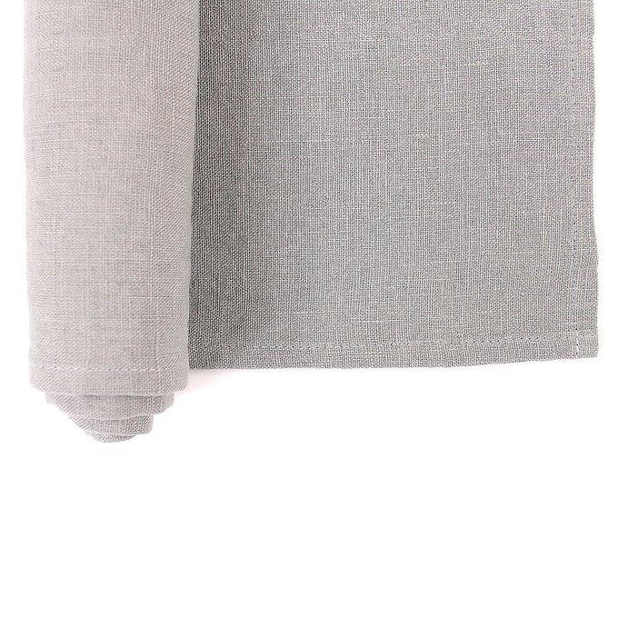 Дорожка на стол из умягченного льна серого цвета