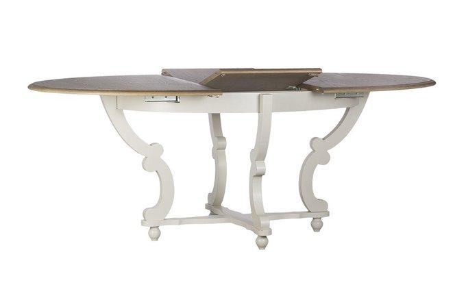 Стол обеденный раскладной белый с каркасом из массива тополя и овальной столешницей в отделке дубовым шпоном