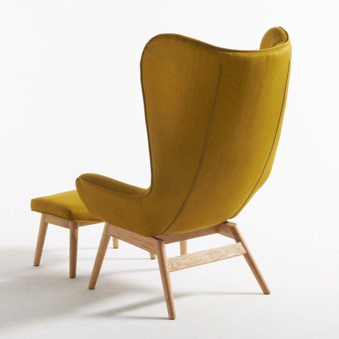 Кресло Crueso с подставкой для ног желтого цвета