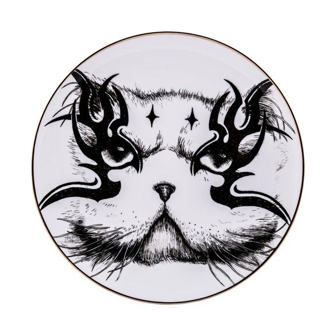 Тарелка Кот из фарфора