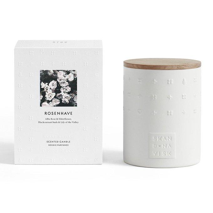 Свеча ароматическая rosenhave белого цвета с крышкой