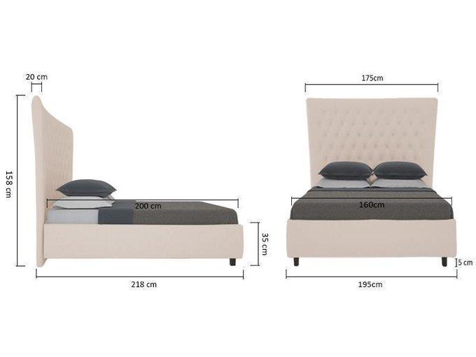 Кровать QuickSand Велюр Светло-бежевый 160х200