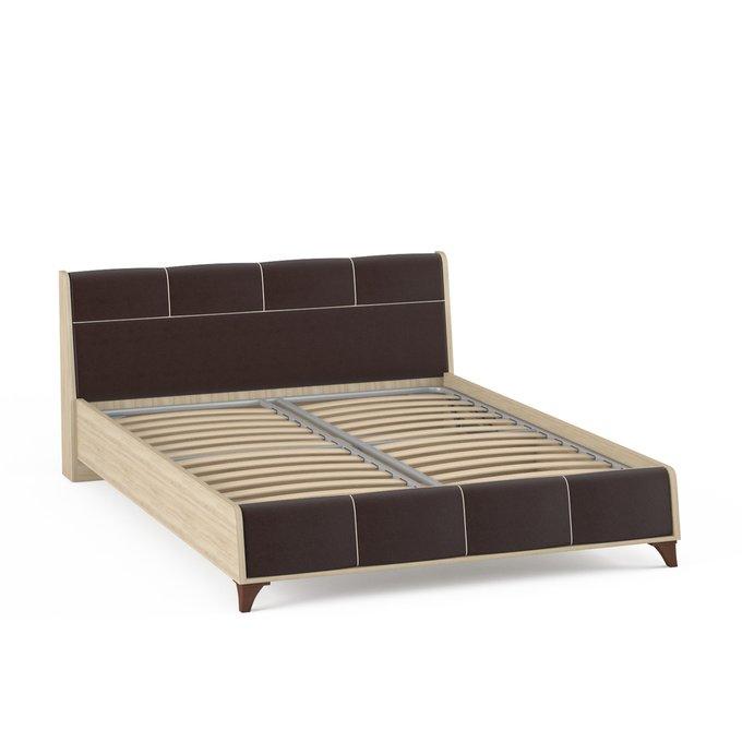 Кровать Келли с подъемным ортопедическим основанием цвета дуб сонома/иск.кожа 160х200