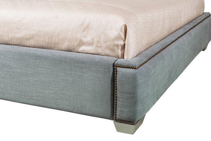 Кровать с решеткой Mestre 200х200 серо-голубого цвета