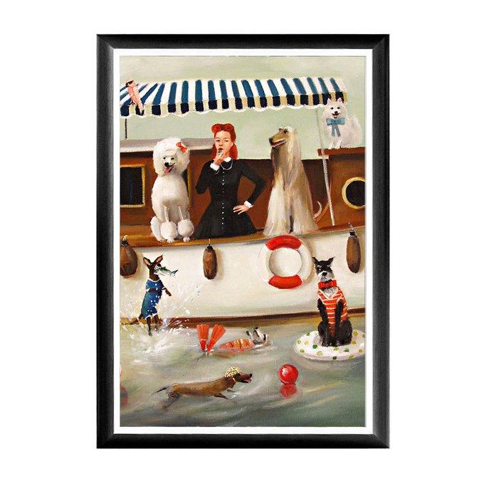 Арт-постер Купальщики в раме из полистоуна