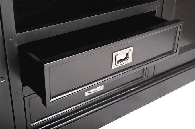 Тумба под телевизор из тополя черного цвета