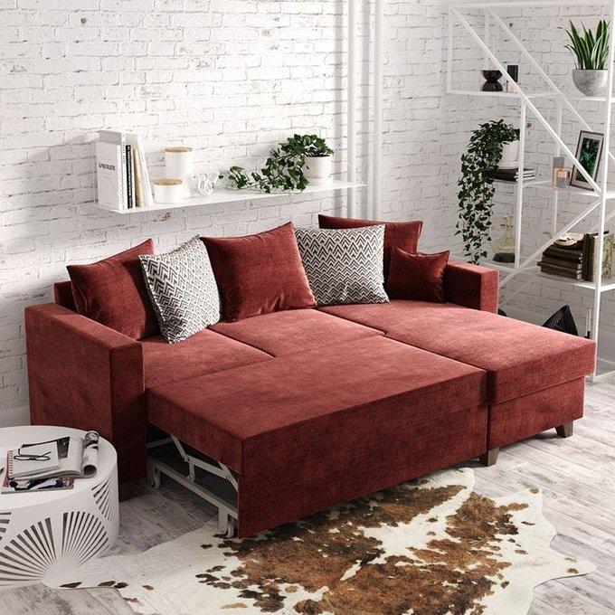 Угловой диван-кровать Эмилио розового цвета