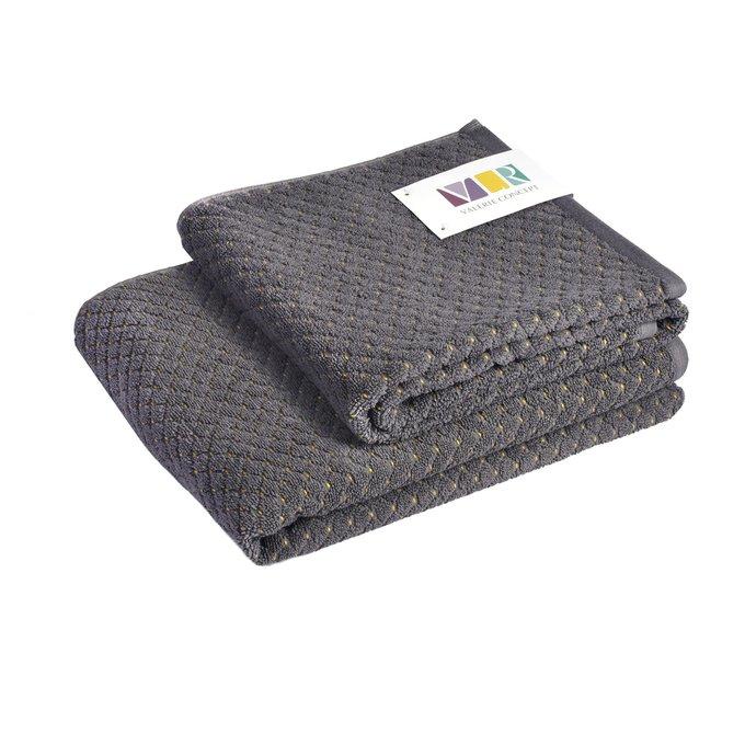 Полотенце из хлопка серого цвета 70х140