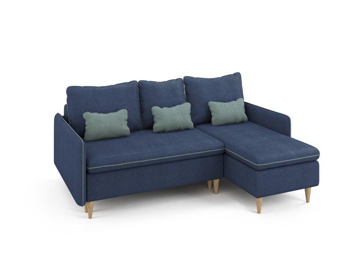 Угловой раскладной диван Ron правый синего цвета