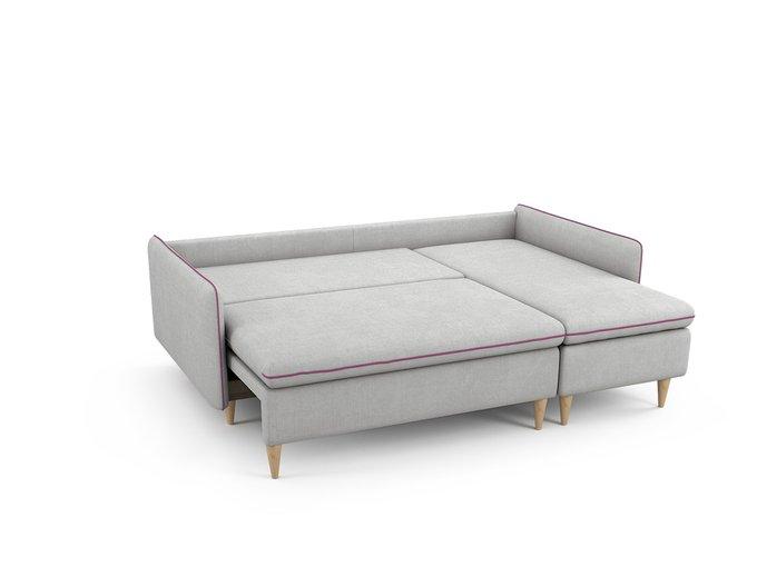 Угловой Диван-кровать Ron правый светло-серого цвета
