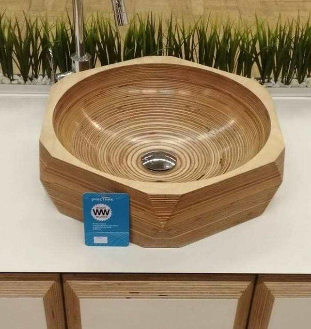 Деревянная раковина Гексагон