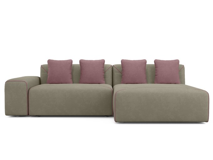 Угловой диван-кровать Portu серо-бежевого цвета