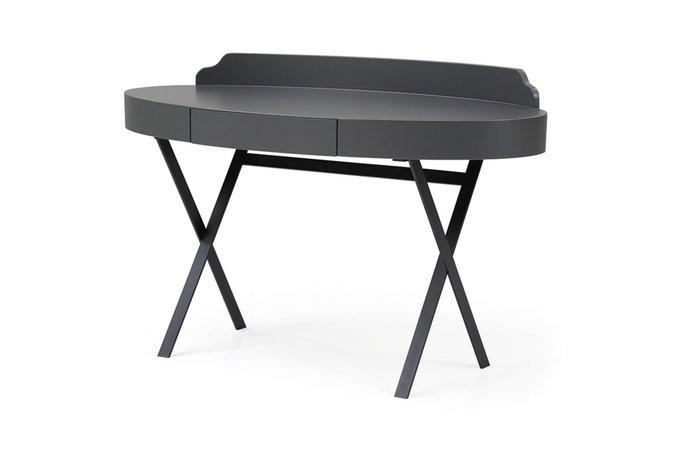 Стол письменный овальный темно-серого цвета