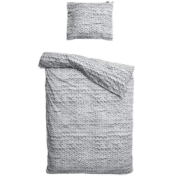 """Комплект постельного белья """"Косичка"""" 150х220 серый фланель"""