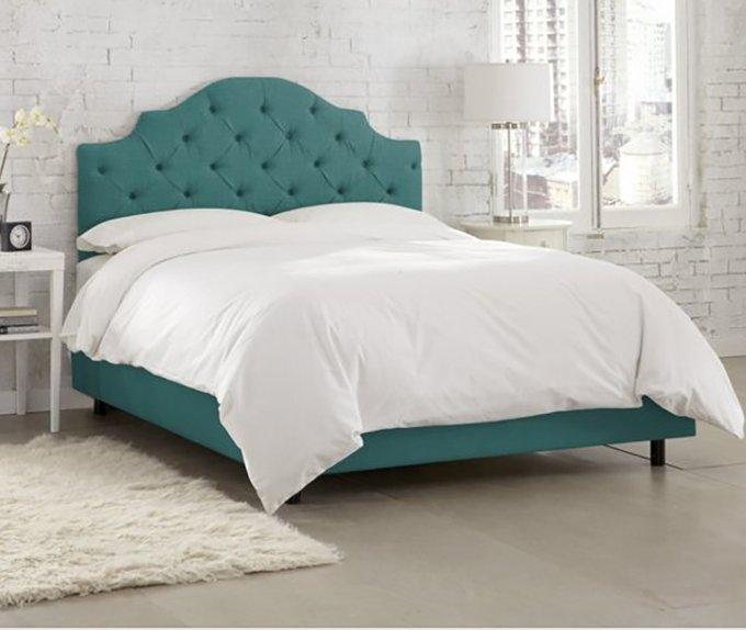 Кровать Henley Tufted Teal 160х200 бирюзового цвета