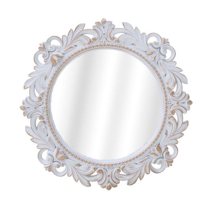 Зеркало настенное в раме бело-золотого цвета
