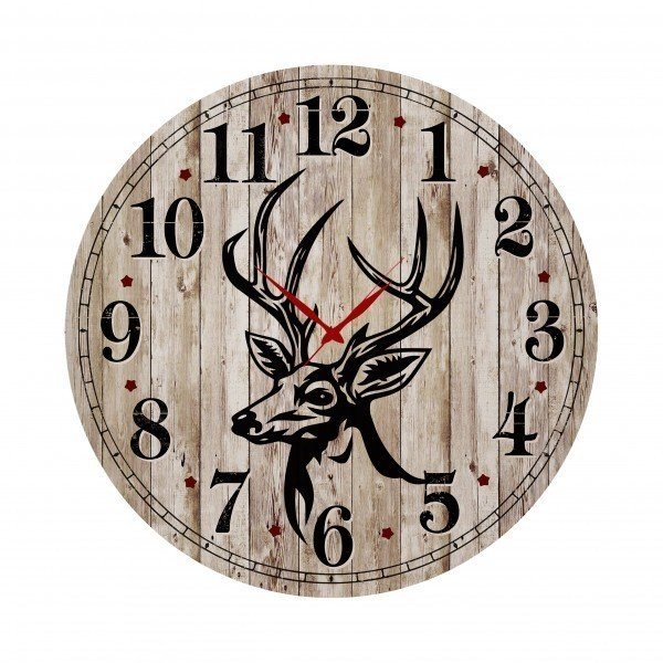 Деревянные настенные часы бежевого цвета