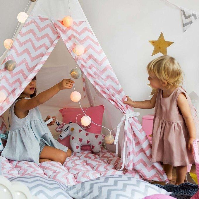 Вигвам большой для детей Pink Zigzag с окном и карманом