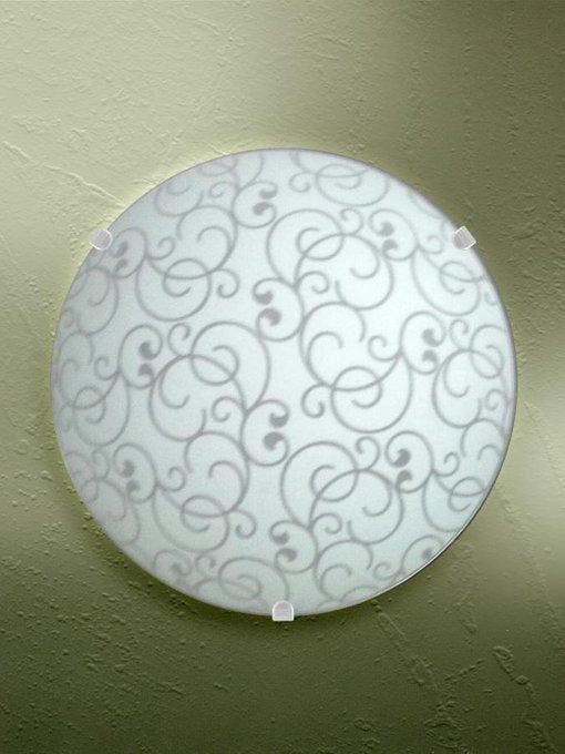 Настенно-потолочный светильник из металла и стекла белого цвета
