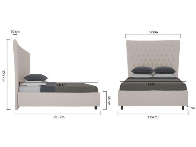 Кровать QuickSand серо-коричневого цвета 160х200